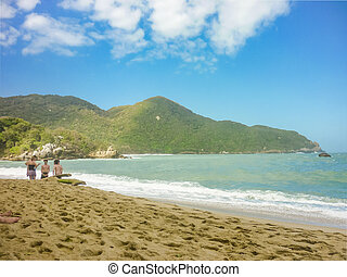 People at Tropical Beach of Tayrona National Park - Empty...