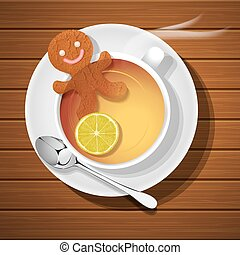 ginger bread in cup of hot lemon tea - ginger bread soak in...