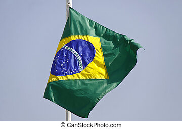 Brazil flag in detail and movement - Brazil flag exposed in...