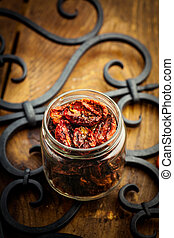 Sun dried tomatoes - Vegetarian food Sun dried tomatoes with...
