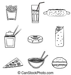 fast food icons set, vector symbols