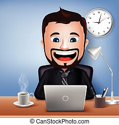 Businessman Character Working - Realistic 3D Businessman...