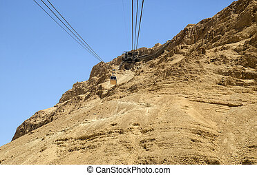 Cable car of Masada fortress, Israel, moving down from the...