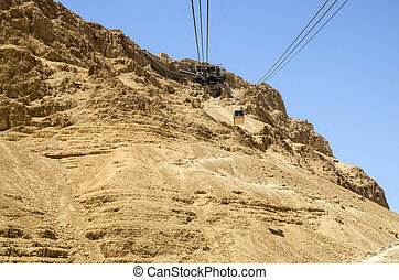 Cable car from Masada fortress in Israel - Cable car...