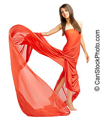 Young woman in red cloth