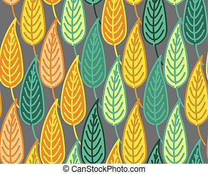 Warm and dark colored seamless autumn leaves pattern