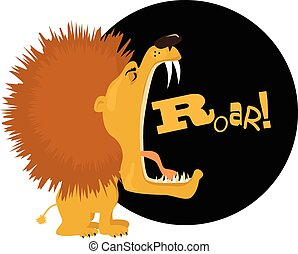 Lion - Cartoon lion roaring, vector illustration, no...