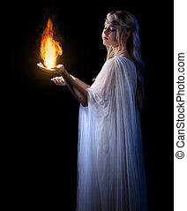 火, 女孩,  elven, 年輕, 被隔离