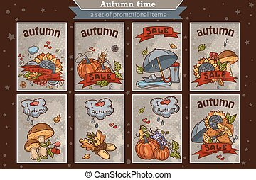 Big set of cards from the vertical colored doodles on theme autumn