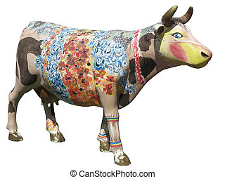 Brighn colored wooden cow mock isolated over white...