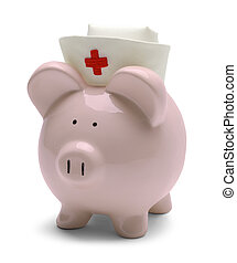 Nurse Pig - Piggy Bank with Nurse Hat Isolated on White...