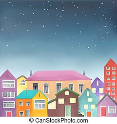 Different houses on the starry sky background - Illustration...