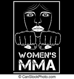 female MMA - Women fighting without rules. Sign, vector...