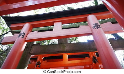Red gate torii in Kyoto, Japan - Red gate torii at Fushimi...