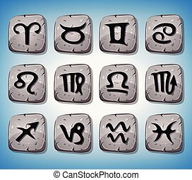 Zodiac Signs And Icons Set On Rocks