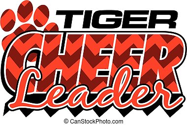 tiger cheerleader design with chevrons and paw print