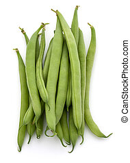 Green beans handful isolated on white background cutout -...
