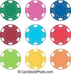 Gambling casino poker chips color set