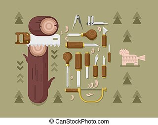 Concept woodcarving. Instrument for carving, carpentry tool,...