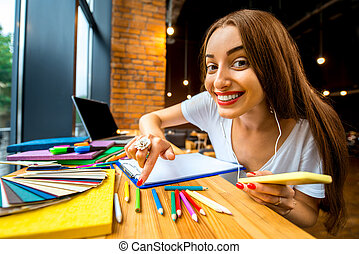 Studing in the cafe - Playful and persistent girl studing...
