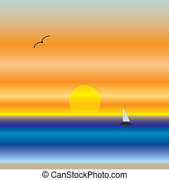 Beach Sunset - Sunset over beach and water with sailboat