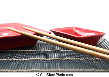 chopstick - Chinese sticks and red plate