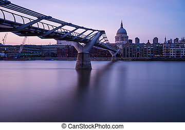 Millennium bridge in pink - Looking across the Thames from...