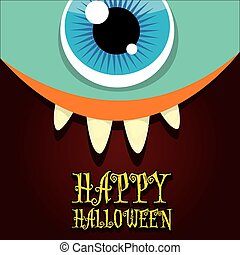 monster face vector. halloween greeting card - monster face...