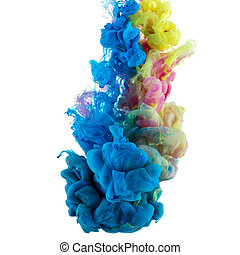 absract color paint in water - Abstract acrylic paint color...