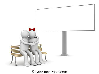 Embracing couple on a bench with copyspace billboard