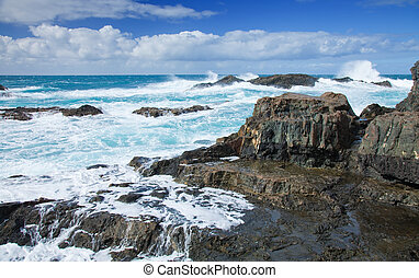 Fuerteventura, Canary Islands, waves at the beach playa del...