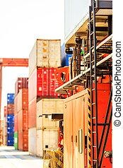 Shipping yard, industrial scene