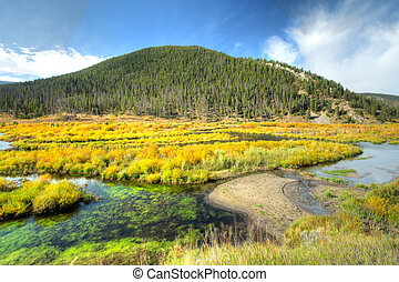 Serence scene of fall colors in the mountains - Serence...