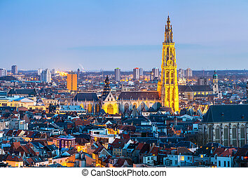 Antwerp cityscape at dusk - Antwerp cityscape with cathedral...