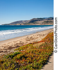 California Beach Shoreline - Southern California beach on...