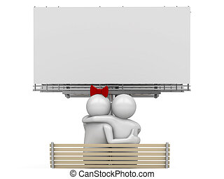 Embracing couple on a bench with copyspace - Love, valentine...