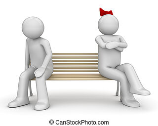 Offended man and woman on a bench - Love, valentine day...