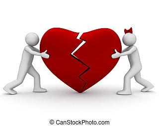 connecter, cassé, coeur