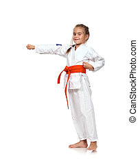 karate girl training - little karate girl training on white...
