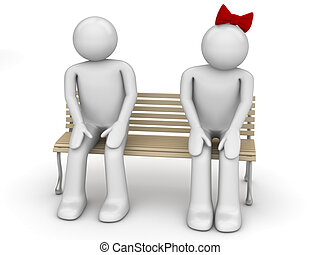 Shy man and woman on a bench - Love, valentine day series;...