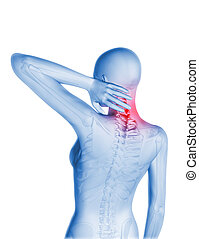 3D female figure with neck pain