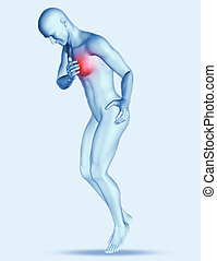3D male figure with chest pain - 3D render of a male figure...