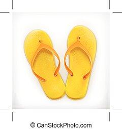 Flip flops icon - Flip flops, icon isolated on white...