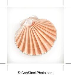 Seashell, icon isolated on white background