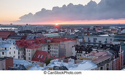 Helsinki rooftops at Sunset