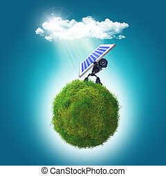 3D render of a robot holding a solar panel on a grassy glboe...