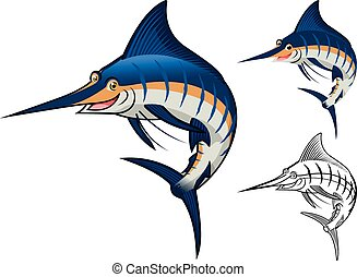 Blue Marlin Cartoon Character - High Quality Blue Marlin...