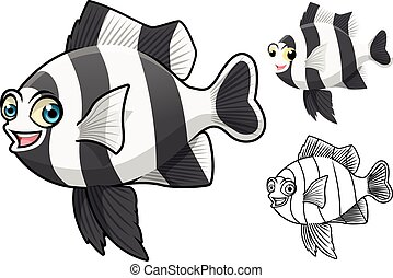 Four Stripe Damselfish Cartoon - High Quality Four Stripe...