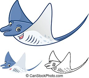 Manta Ray Cartoon - High Quality Manta Ray Cartoon Character...