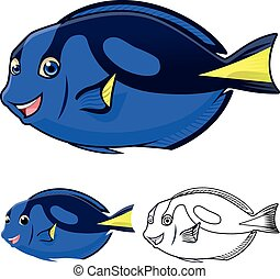 Regal Blue Tang Cartoon - High Quality Regal Blue Tang...